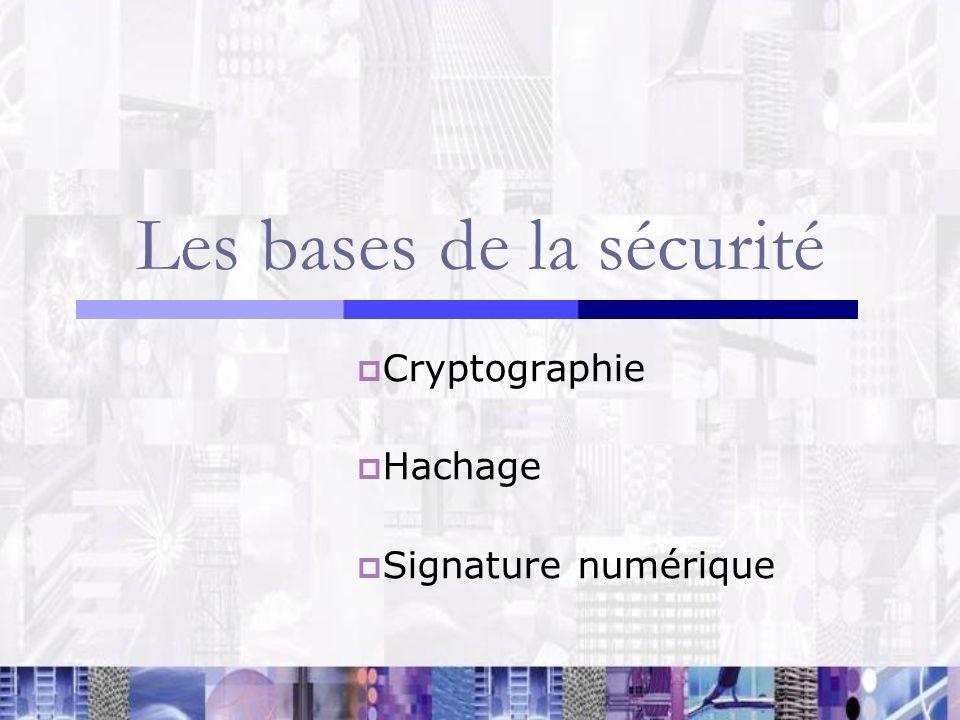 Les bases de la sécurité Cryptographie Cryptage à clé symétrique ou à clé asymétrique.