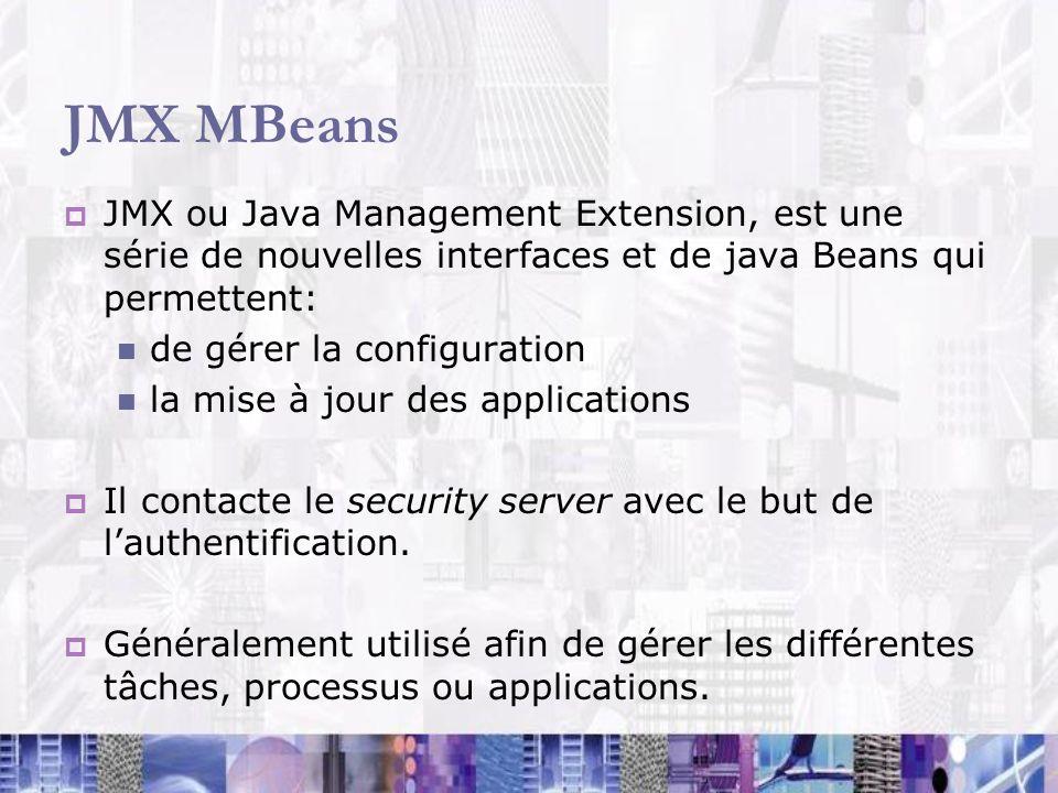 JMX MBeans JMX ou Java Management Extension, est une série de nouvelles interfaces et de java Beans qui permettent: de gérer la configuration la mise