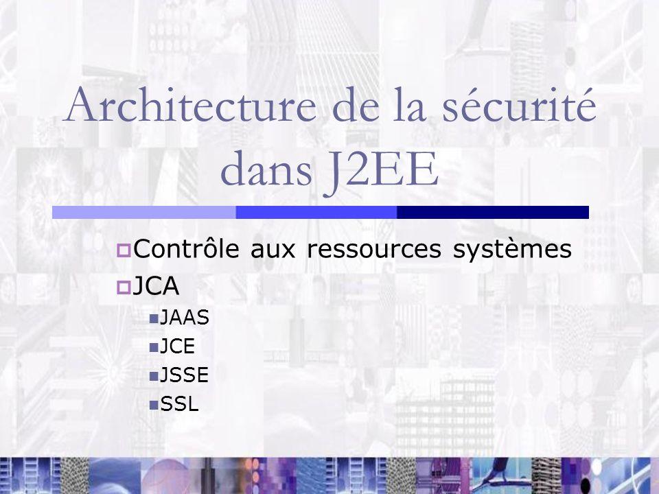 Architecture de la sécurité dans J2EE Contrôle aux ressources systèmes JCA JAAS JCE JSSE SSL