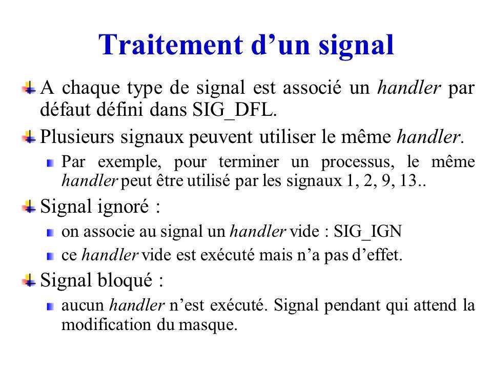 A chaque type de signal est associé un handler par défaut défini dans SIG_DFL. Plusieurs signaux peuvent utiliser le même handler. Par exemple, pour t
