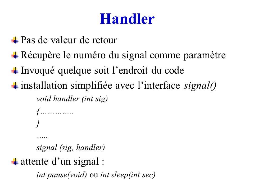 Handler Pas de valeur de retour Récupère le numéro du signal comme paramètre Invoqué quelque soit lendroit du code installation simplifiée avec linter