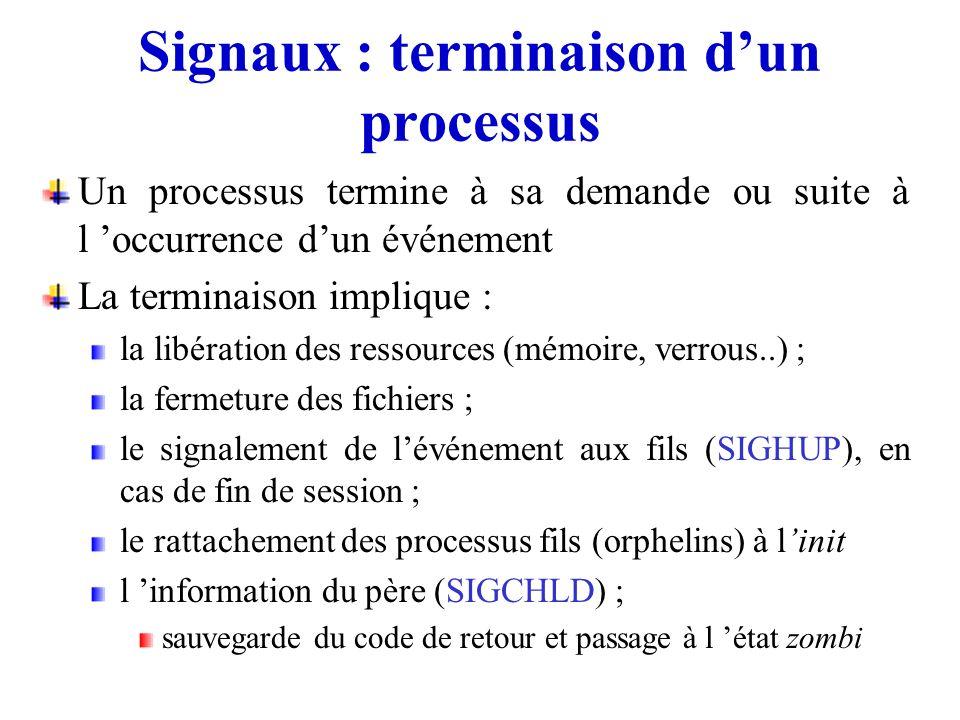 Signaux : terminaison dun processus Un processus termine à sa demande ou suite à l occurrence dun événement La terminaison implique : la libération de