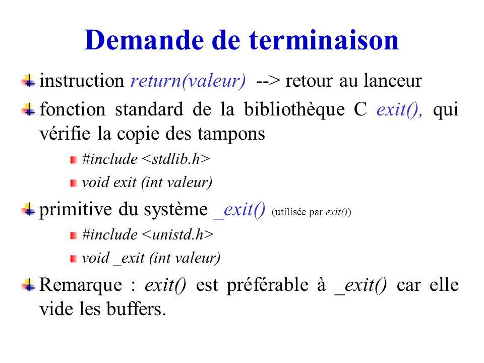 Demande de terminaison instruction return(valeur) --> retour au lanceur fonction standard de la bibliothèque C exit(), qui vérifie la copie des tampon