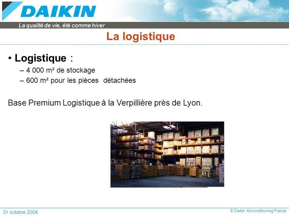 La qualité de vie, été comme hiver 31 octobre 2004 © Daikin Airconditioning France Logistique : – 4 000 m² de stockage – 600 m² pour les pièces détachées Base Premium Logistique à la Verpillière près de Lyon.