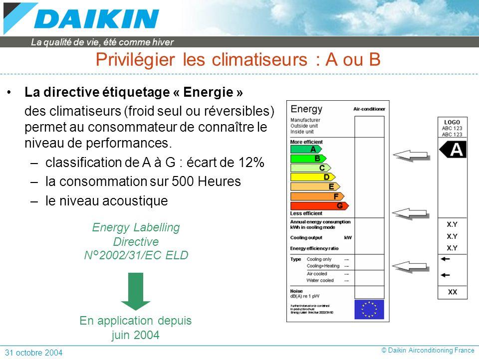 La qualité de vie, été comme hiver 31 octobre 2004 © Daikin Airconditioning France Privilégier les climatiseurs : A ou B Energy Labelling Directive N°2002/31/EC ELD En application depuis juin 2004 La directive étiquetage « Energie » des climatiseurs (froid seul ou réversibles) permet au consommateur de connaître le niveau de performances.