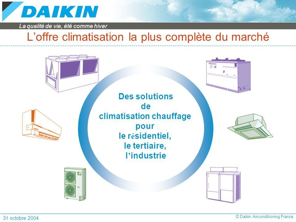 La qualité de vie, été comme hiver 31 octobre 2004 © Daikin Airconditioning France Loffre climatisation la plus complète du marché Des solutions de climatisation chauffage pour le r é sidentiel, le tertiaire, l industrie