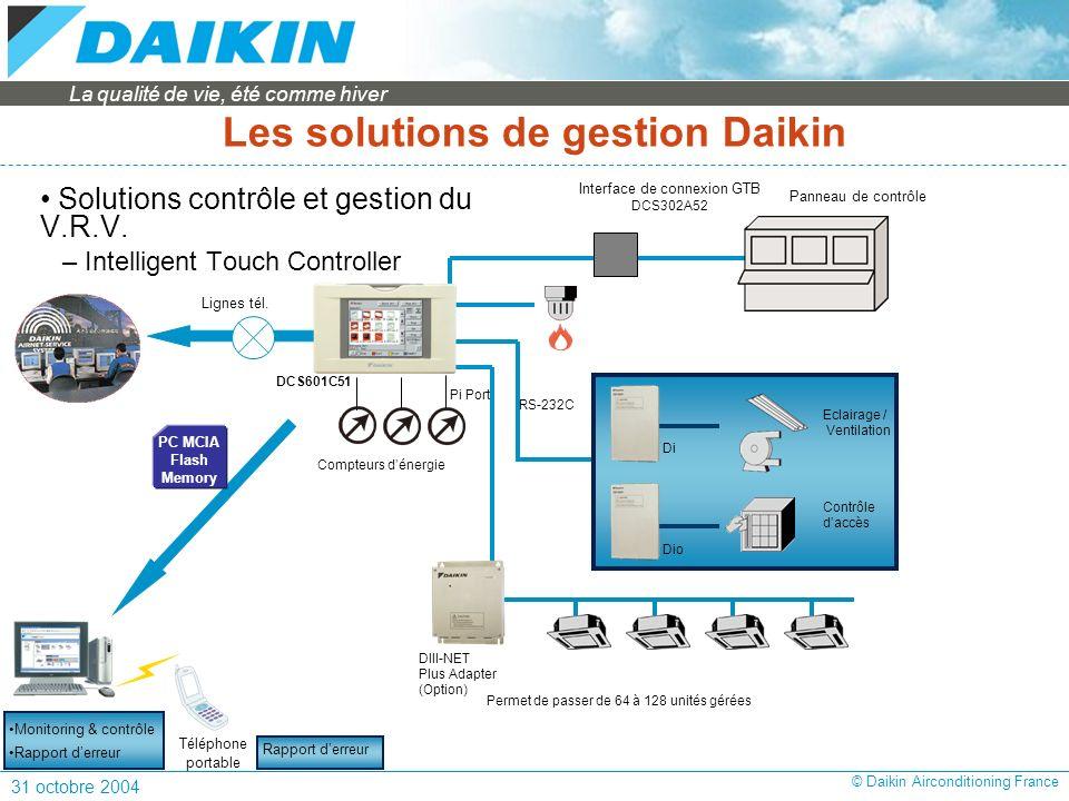 La qualité de vie, été comme hiver 31 octobre 2004 © Daikin Airconditioning France Solutions contrôle et gestion du V.R.V.