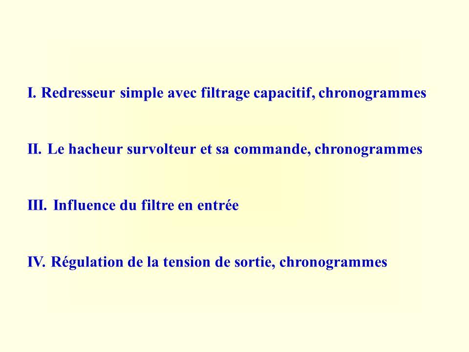 I. Redresseur simple avec filtrage capacitif, chronogrammes II. Le hacheur survolteur et sa commande, chronogrammes III. Influence du filtre en entrée
