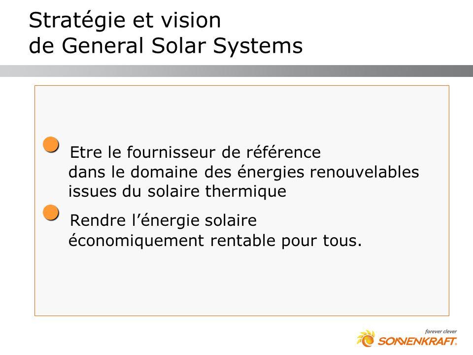 Stratégie et vision de General Solar Systems Etre le fournisseur de référence dans le domaine des énergies renouvelables issues du solaire thermique R