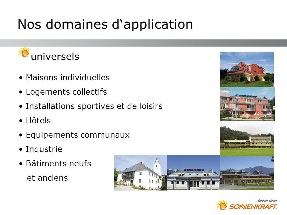 Nos domaines dapplication universels Maisons individuelles Logements collectifs Installations sportives et de loisirs Hôtels Equipements communaux Ind