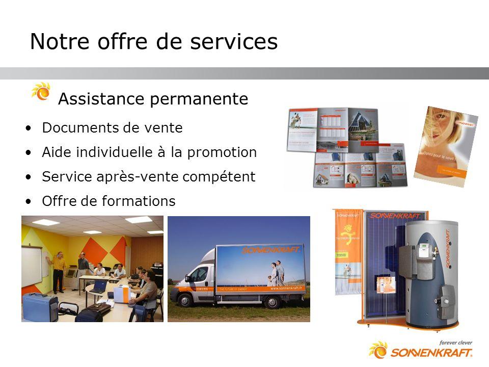 Notre offre de services Assistance permanente Documents de vente Aide individuelle à la promotion Service après-vente compétent Offre de formations