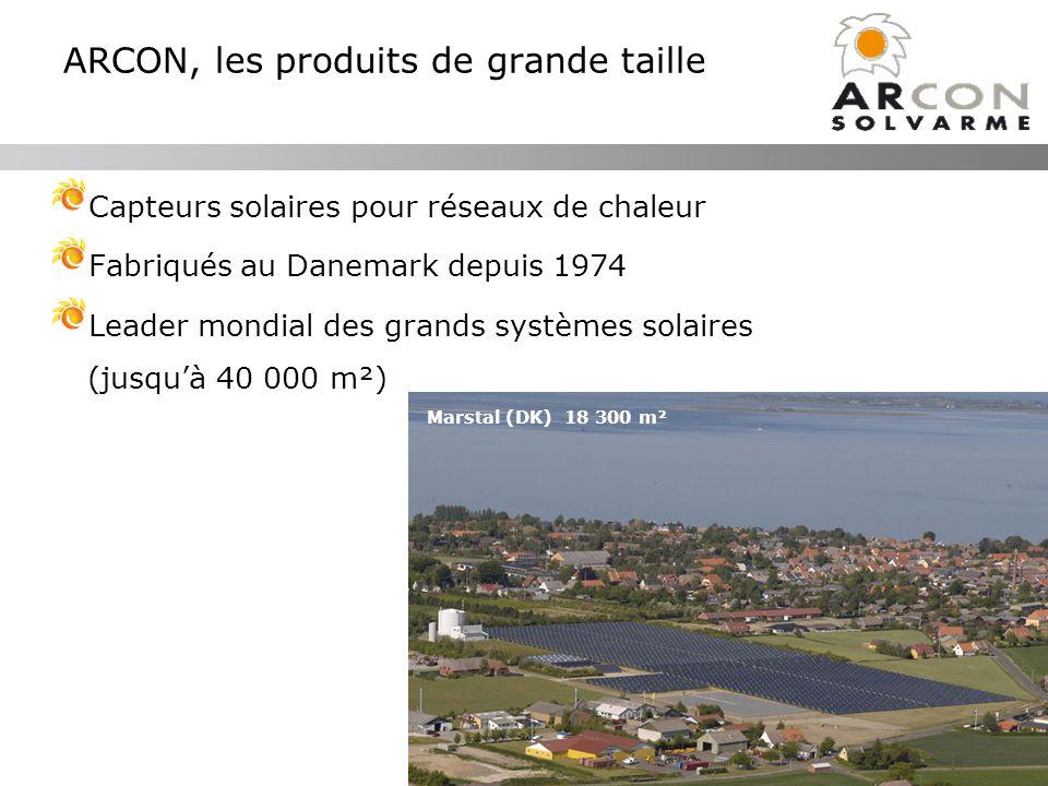 ARCON, les produits de grande taille Capteurs solaires pour réseaux de chaleur Fabriqués au Danemark depuis 1974 Leader mondial des grands systèmes so