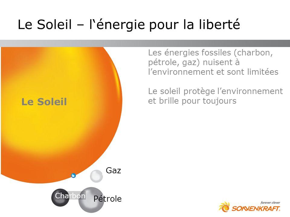 Les énergies fossiles (charbon, pétrole, gaz) nuisent à lenvironnement et sont limitées Le soleil protège lenvironnement et brille pour toujours Le So