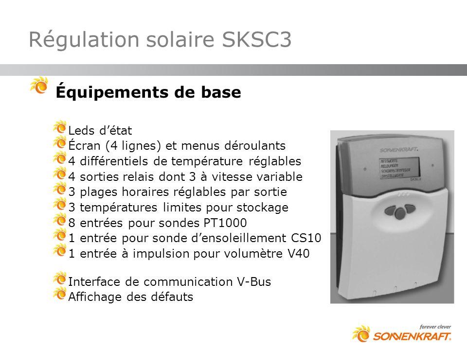 Régulation solaire SKSC3 Équipements de base Leds détat Écran (4 lignes) et menus déroulants 4 différentiels de température réglables 4 sorties relais