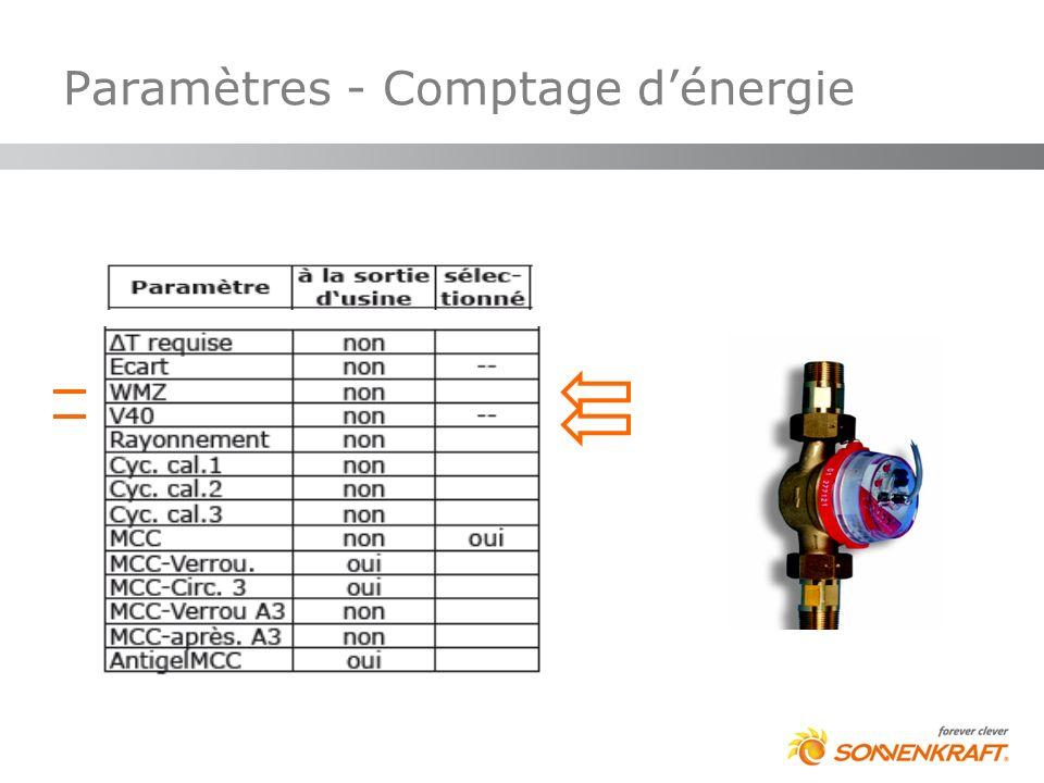 Paramètres - Comptage dénergie