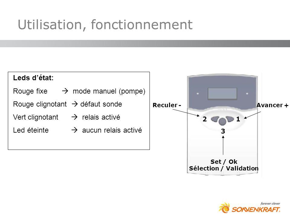 Utilisation, fonctionnement Leds détat: Rouge fixe mode manuel (pompe) Rouge clignotant défaut sonde Vert clignotant relais activé Led éteinte aucun r