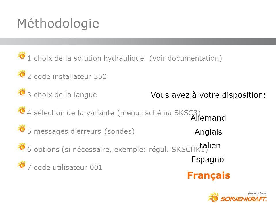 1 choix de la solution hydraulique (voir documentation) 2 code installateur 550 3 choix de la langue 4 sélection de la variante (menu: schéma SKSC3) 5