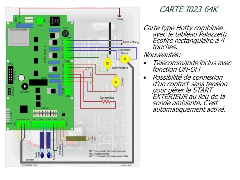 CARTE I023 64K Carte type Hotty combinée avec le tableau Palazzetti Ecofire rectangulaire à 4 touches. Nouveautés: Télécommande inclus avec fonction O