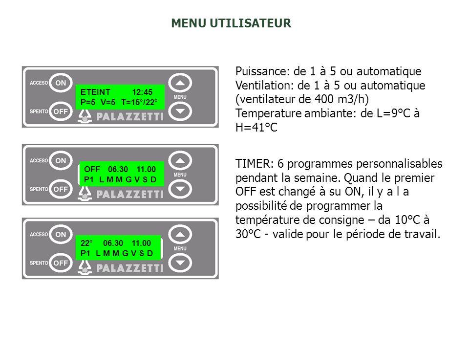 Puissance: de 1 à 5 ou automatique Ventilation: de 1 à 5 ou automatique (ventilateur de 400 m3/h) Temperature ambiante: de L=9°C à H=41°C MENU UTILISA