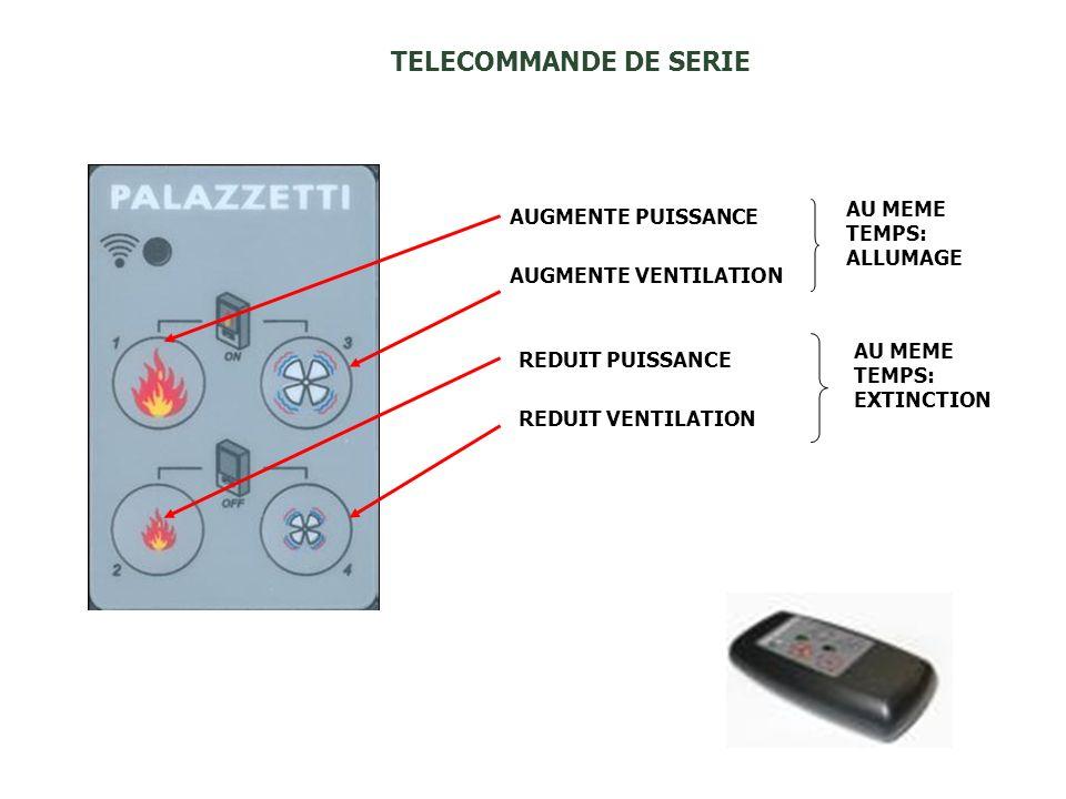 AUGMENTE PUISSANCE TELECOMMANDE DE SERIE AUGMENTE VENTILATION REDUIT PUISSANCE REDUIT VENTILATION AU MEME TEMPS: ALLUMAGE AU MEME TEMPS: EXTINCTION