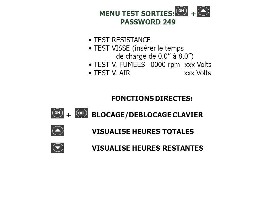 TEST RESISTANCE TEST VISSE (insérer le temps de charge de 0.0 à 8.0) TEST V. FUMEES 0000 rpm xxx Volts TEST V. AIR xxx Volts MENU TEST SORTIES: + PASS