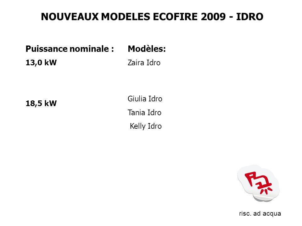 Puissance nominale : 13,0 kW 18,5 kW Modèles: Zaira Idro Giulia Idro Tania Idro Kelly Idro NOUVEAUX MODELES ECOFIRE 2009 - IDRO risc. ad acqua