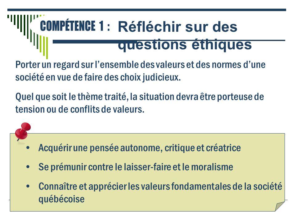 Porter un regard sur lensemble des valeurs et des normes dune société en vue de faire des choix judicieux. Quel que soit le thème traité, la situation