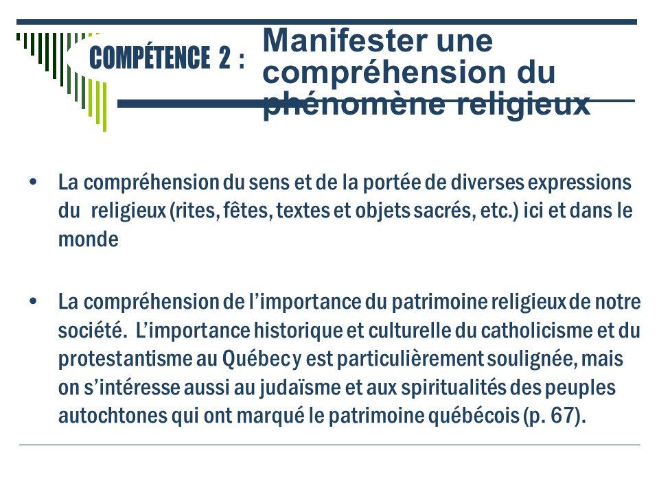 La compréhension du sens et de la portée de diverses expressions du religieux (rites, fêtes, textes et objets sacrés, etc.) ici et dans le monde La co