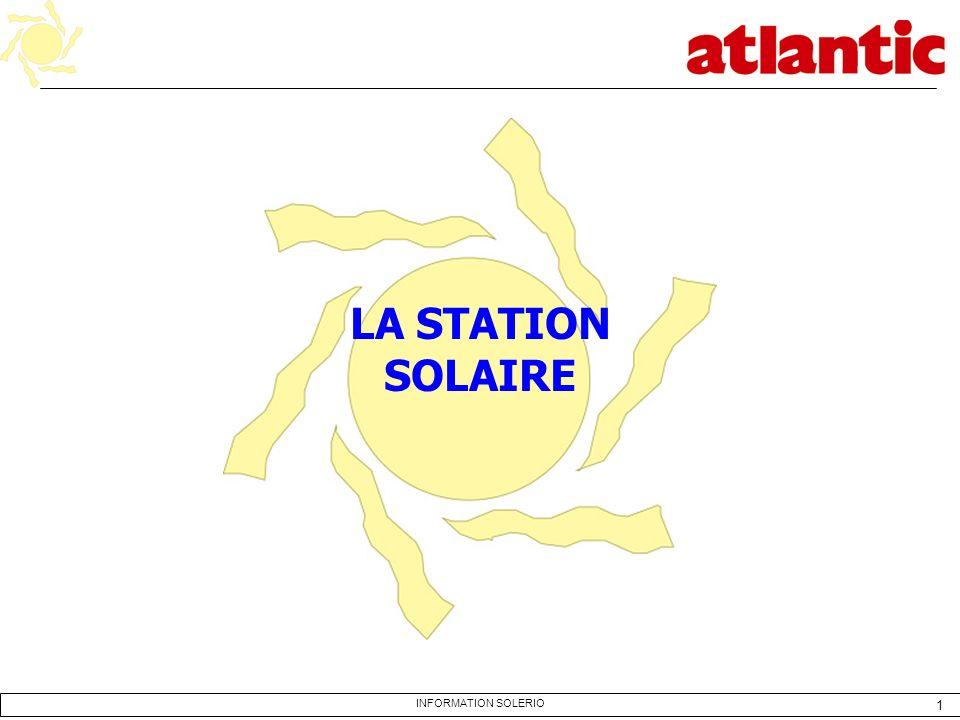 12 INFORMATION SOLERIO LA STATION SOLAIRE En fonction des températures : - du capteur - du ballon - de lappoint elle agit sur la pompe solaire et commande la chaudière dappoint.