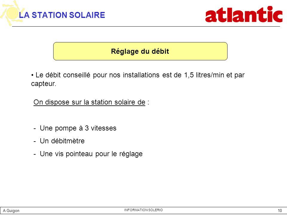 10 INFORMATION SOLERIO LA STATION SOLAIRE Réglage du débit Le débit conseillé pour nos installations est de 1,5 litres/min et par capteur. On dispose