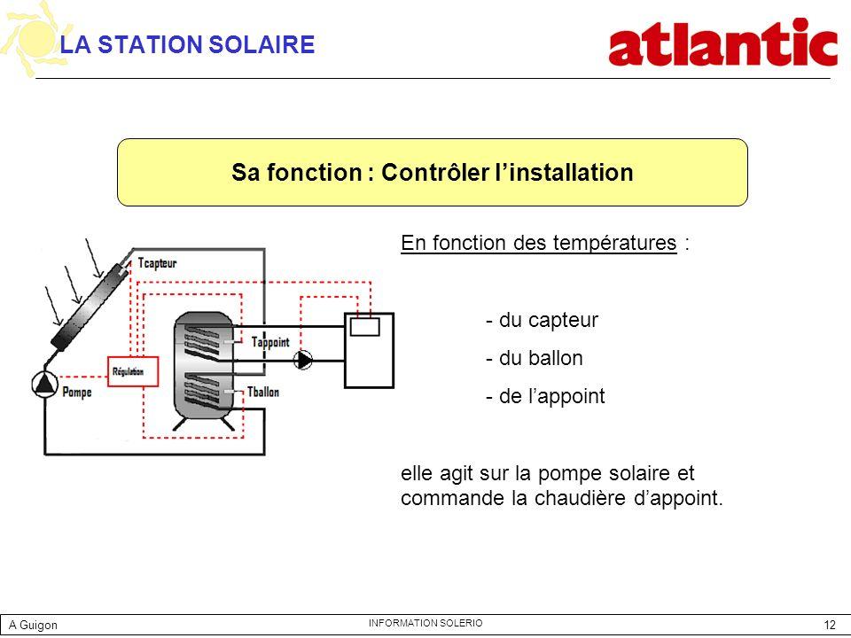 12 INFORMATION SOLERIO LA STATION SOLAIRE En fonction des températures : - du capteur - du ballon - de lappoint elle agit sur la pompe solaire et comm