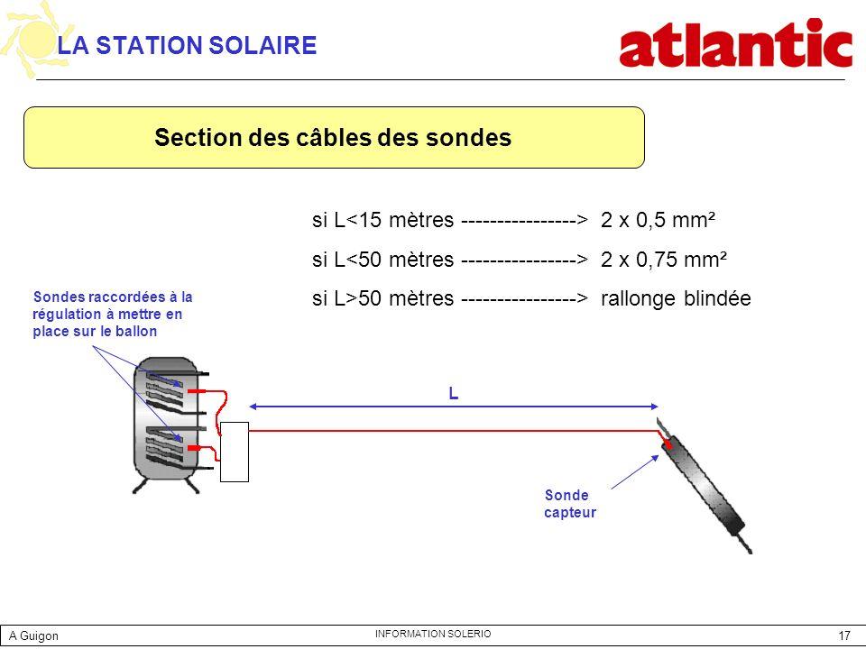 17 INFORMATION SOLERIO LA STATION SOLAIRE si L 2 x 0,5 mm² si L 2 x 0,75 mm² si L>50 mètres ----------------> rallonge blindée Sonde capteur Sondes ra