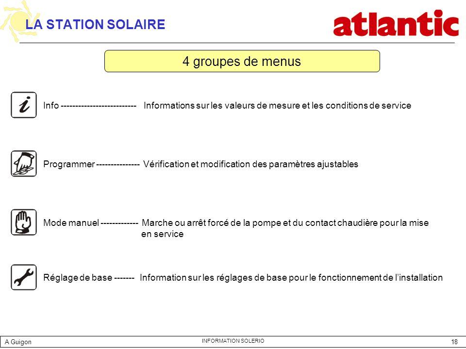 18 INFORMATION SOLERIO LA STATION SOLAIRE Info -------------------------- Informations sur les valeurs de mesure et les conditions de service Programm