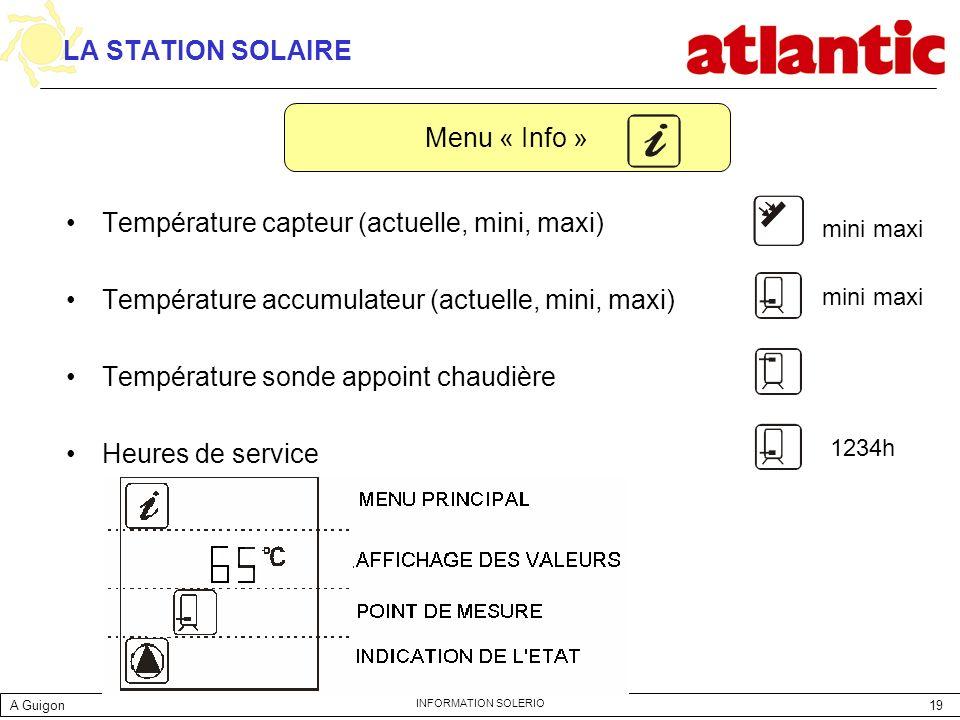 19 INFORMATION SOLERIO LA STATION SOLAIRE Température capteur (actuelle, mini, maxi) Température accumulateur (actuelle, mini, maxi) Température sonde
