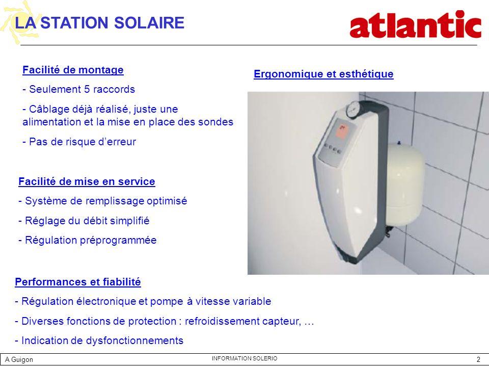 2 INFORMATION SOLERIO Facilité de montage - Seulement 5 raccords - Câblage déjà réalisé, juste une alimentation et la mise en place des sondes - Pas d