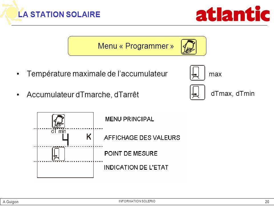 20 INFORMATION SOLERIO LA STATION SOLAIRE Température maximale de laccumulateur Accumulateur dTmarche, dTarrêt Menu « Programmer » max dTmax, dTmin A