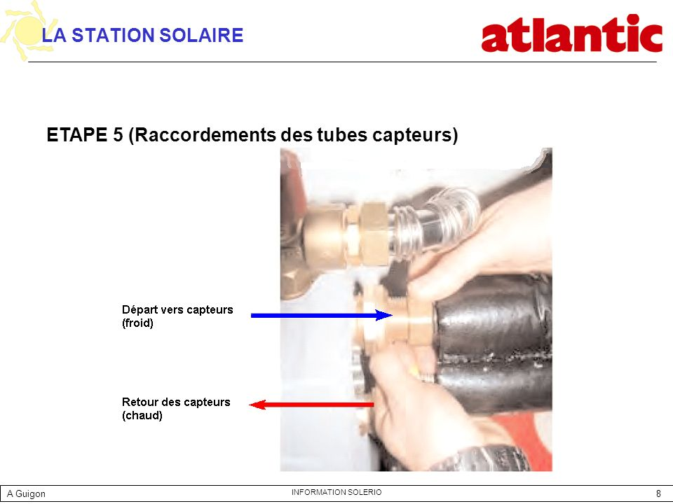 8 INFORMATION SOLERIO LA STATION SOLAIRE ETAPE 5 (Raccordements des tubes capteurs) A Guigon