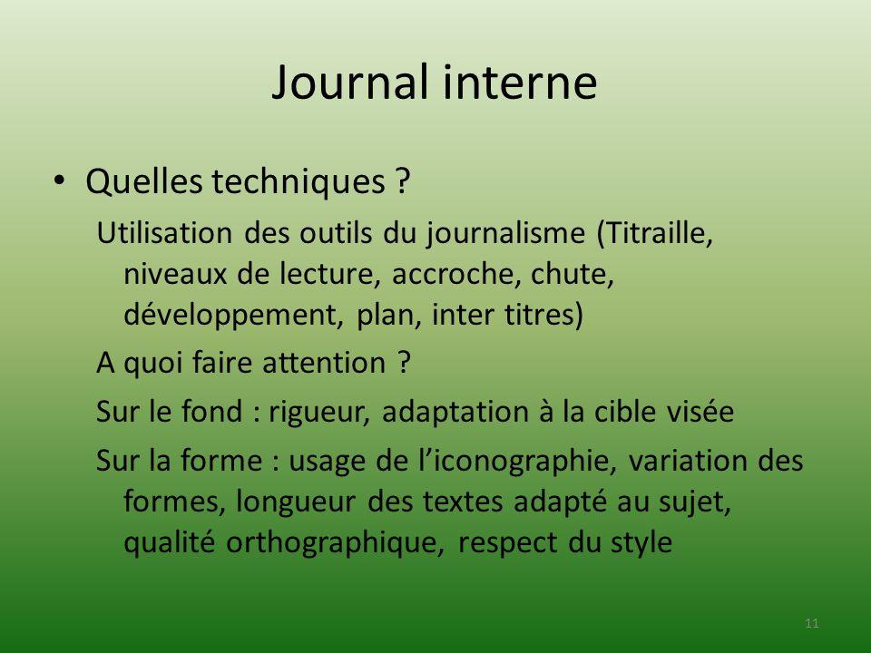Journal interne Quelles techniques ? Utilisation des outils du journalisme (Titraille, niveaux de lecture, accroche, chute, développement, plan, inter