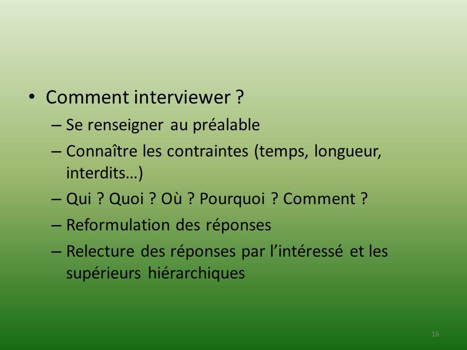 Comment interviewer ? – Se renseigner au préalable – Connaître les contraintes (temps, longueur, interdits…) – Qui ? Quoi ? Où ? Pourquoi ? Comment ?