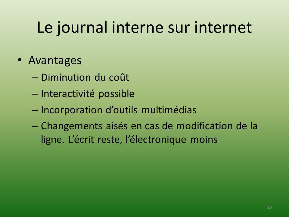 Le journal interne sur internet Avantages – Diminution du coût – Interactivité possible – Incorporation doutils multimédias – Changements aisés en cas