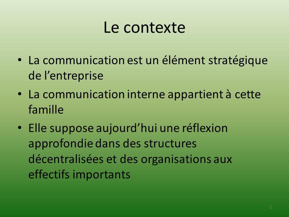 Le contexte La communication est un élément stratégique de lentreprise La communication interne appartient à cette famille Elle suppose aujourdhui une
