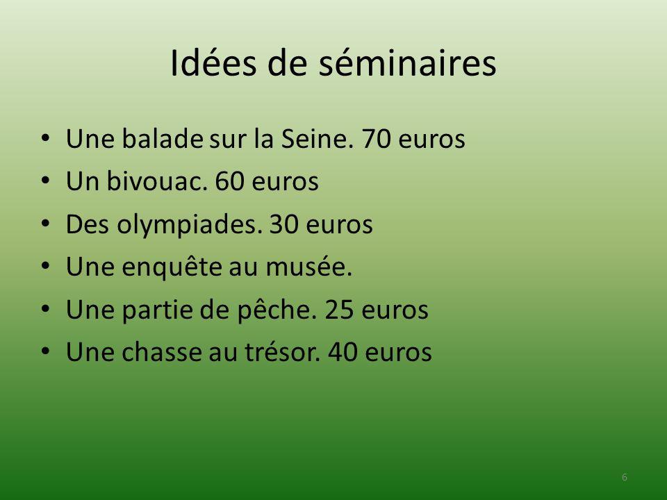 Idées de séminaires Une balade sur la Seine. 70 euros Un bivouac. 60 euros Des olympiades. 30 euros Une enquête au musée. Une partie de pêche. 25 euro