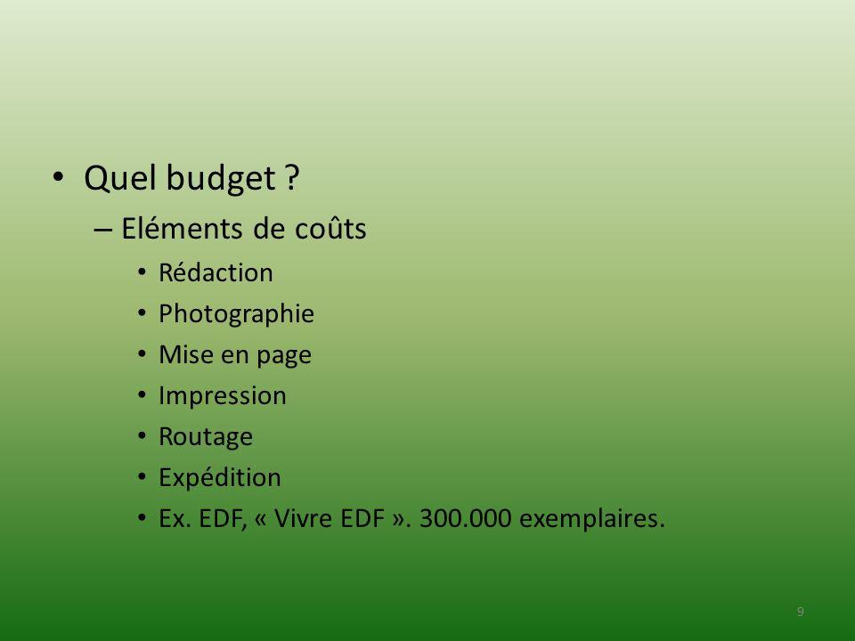 Quel budget ? – Eléments de coûts Rédaction Photographie Mise en page Impression Routage Expédition Ex. EDF, « Vivre EDF ». 300.000 exemplaires. 9
