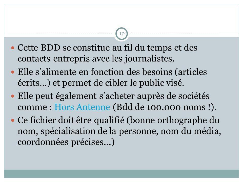 10 Cette BDD se constitue au fil du temps et des contacts entrepris avec les journalistes. Elle salimente en fonction des besoins (articles écrits…) e
