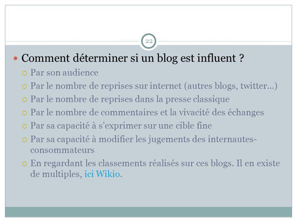 22 Comment déterminer si un blog est influent ? Par son audience Par le nombre de reprises sur internet (autres blogs, twitter…) Par le nombre de repr