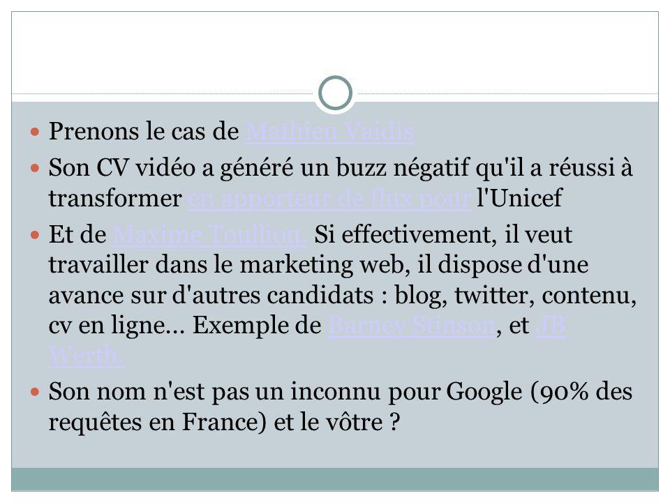 Prenons le cas de Mathieu VaidisMathieu Vaidis Son CV vidéo a généré un buzz négatif qu'il a réussi à transformer en apporteur de flux pour l'Unicefen