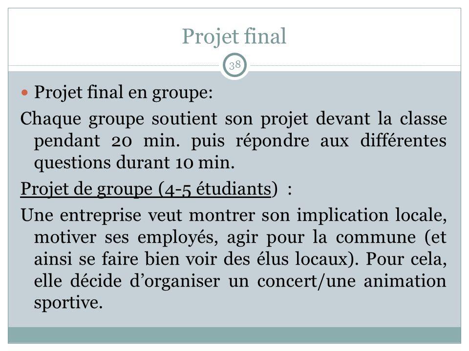 Projet final Projet final en groupe: Chaque groupe soutient son projet devant la classe pendant 20 min. puis répondre aux différentes questions durant