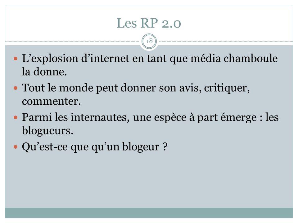 Les RP 2.0 18 Lexplosion dinternet en tant que média chamboule la donne.