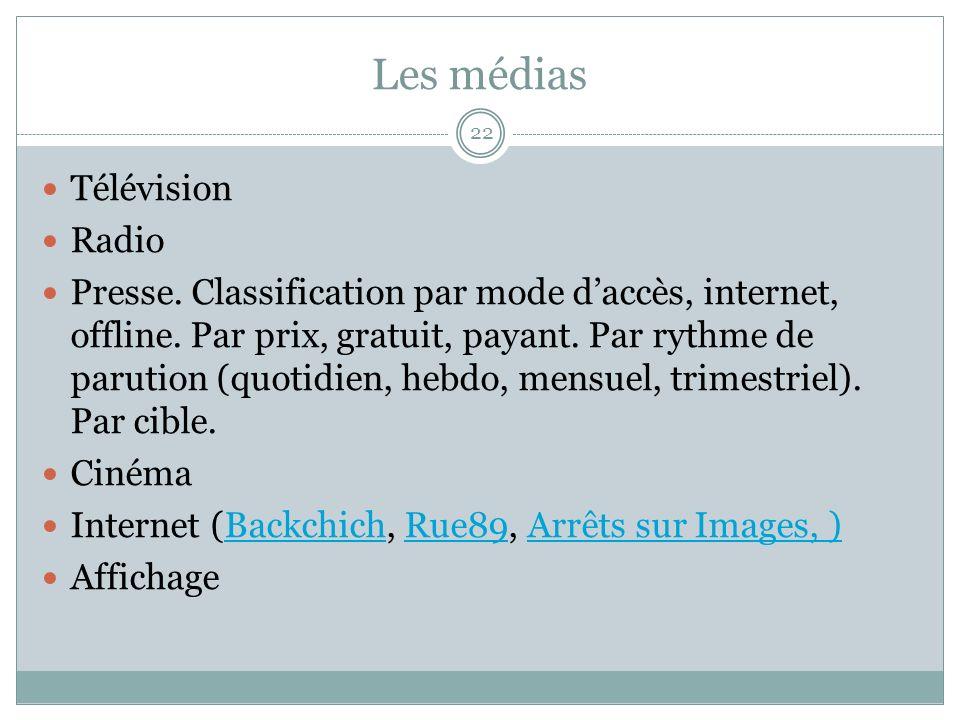 Les médias Télévision Radio Presse. Classification par mode daccès, internet, offline.