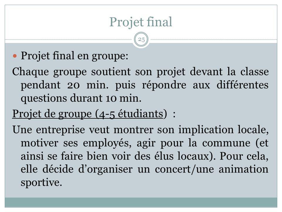 Projet final Projet final en groupe: Chaque groupe soutient son projet devant la classe pendant 20 min.